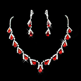 Women's Red Synthetic Ruby Briolette Jewelry Set Cubic Zirconia, Imitation Diamond Drop Ladies, Party Include Pendant Necklace Earrings Red For Wedding Masquer