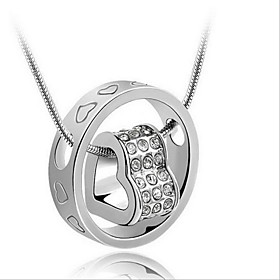 Women's Floating Pendant Necklace Sterling Silver Heart Ladies Fashion Bridal Silver Necklace Jewelry For Wedding Gift Daily Casual