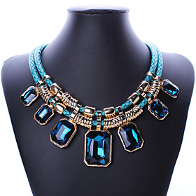 Europe and the United States big fashion exaggerated double layer of the atmosphere of large square diamond crystal necklace 0325# 5545980