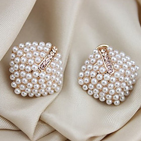 Women's Pearl Stud Earrings Ear Cuff Pearl Crystal Imitation Pearl Earrings Ladies Luxury Jewelry White For Wedding Party Daily Casual Masquerade Engagement Pa
