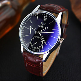 YAZOLE Luxury Brand Fashion Faux Leather Blue Ray Glass Men Watch 2015 Quartz Analog Business Wrist Watches Men montre homme Cool Watch Unique Watch 4536594