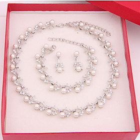 Women's Jewelry Set Ladies Include Pearl White For Wedding Party Special Occasion Anniversary Birthday Engagement / Gift / Daily / Earrings / Necklace