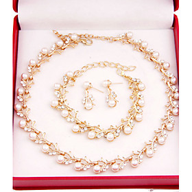 Jewelry Set - Pearl, Gold Plated Cross Vintage, Party, Casual Include White For Party Special Occasion Anniversary / Earrings / Necklace