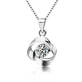 Women's Crystal Pendant Necklace - Sterling Silver, Crystal, Silver Fashion Silver Necklace Jewelry For Party, Daily, Casual