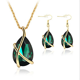 Women's Crystal Synthetic Emerald Jewelry Set - Crystal, Rose Gold Plated Teardrop Party, Elegant, Bridal Include Drop Earrings Pendant Necklace White / Green