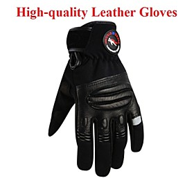 Men's High Quality Motorcycle Leather Gloves Motorcross Cycling Bike Breathable Full Finger Bicycle Touch Screen Gloves 4684441