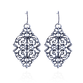 Women's Hollow Drop Earrings - Silver Plated Flower Carved Silver For Party Daily Casual