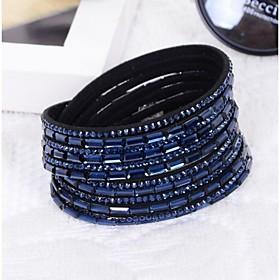 Women handmade velvet bracelet bling rhinestone wrap PU leather bracelet hot drill bangle Christmas Gifts 4736092