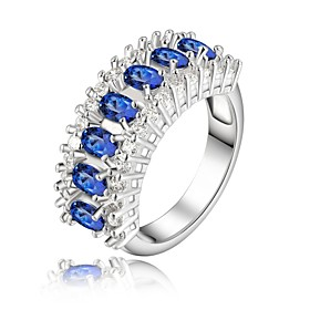 Women's Statement Ring - Rhinestone, Silver Plated Fashion 8 Blue For Wedding Party Daily / Crystal