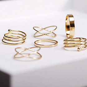 Women's Stackable Jewelry Set Rings Set - Alloy Adjustable Golden For Party Daily Casual / 6pcs
