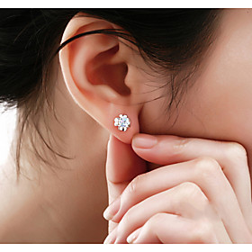 Women's Crystal Stud Earrings - Sterling Silver, Crystal, Silver Clover Fashion White / Purple For Wedding Party Daily
