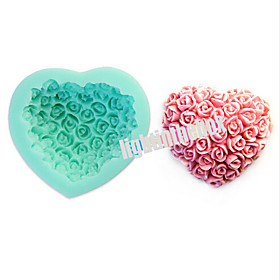 Valentine Rose Flower Heart Shape DIY Silicone Chocolate Pudding Sugar Cake Mold Color Random 4702702