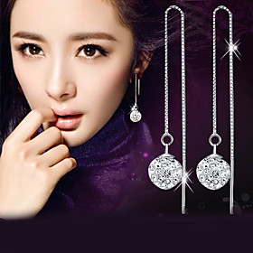 Synthetic Diamond Disco Ball Drop Earrings - Sterling Silver, Crystal, Imitation Diamond Ball Fashion, Elegant Silver For Wedding Party Daily