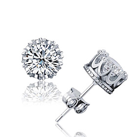Crystal AAA Cubic Zirconia Stud Earrings - Sterling Silver, Crystal, Zircon Crown Basic, Simple Style, Fashion Silver For Wedding Party Daily