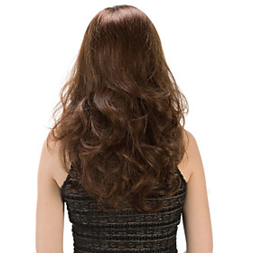 High Quality Temperament Capless Synthetic Brown Color Long Wavy Synthetic Wigs 4654361