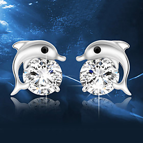 Crystal Stud Earrings - Sterling Silver, Crystal, Silver Dolphin, Animal Fashion Silver For Wedding Party Daily