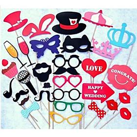 33Pcs/Set Festive  Party Supplies Photo Props Booth Mustache Champagne Wedding Favor 2556918