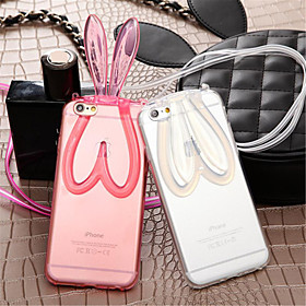 Fashion Cute Transparent Silicone Rabbit Ears Lanyard Back Stand Case Cover For iPhone 5/5S (Assorted Colors) 4716862