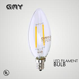 Image of 1 pcs GMY E12 2W LED Filament Light COB ≥200 LM Warm White CB10 Clear Decorative Candle Bulbs AC 110-130V 2700K