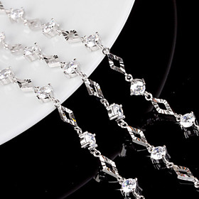 Women's Crystal Chain Bracelet Charm Bracelet - Sterling Silver Bracelet White For Wedding Party Daily