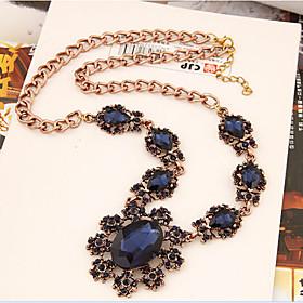Women's Statement Necklaces Crystal Gemstone  Crystal Alloy Flower Sunflower Fashion Light Blue Dark Gray Royal Blue JewelrySpecial 4853034