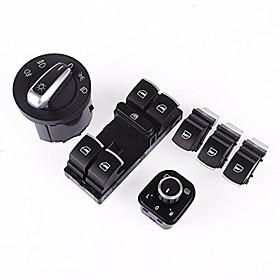 Iztoss 6pcs Set Chrome Headlight Window Mirror Switch For VW Passat B6 Jetta Golf MK5 MK6 CC TIGUAN 4741819