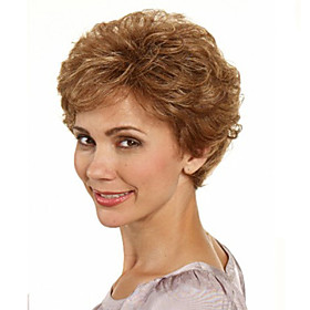 Capless Brown Color Short Synthetic Curly Hair Wig Full Bang 4741217