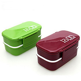 1pc Lunch Box Plastic Easy To Use Kitchen Organization