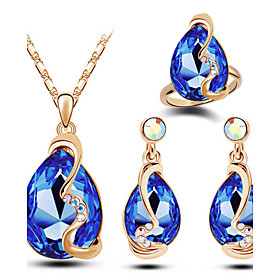 Women's Crystal Jewelry Set Austria Crystal Drop Ladies, Luxury, Fashion Include Blue / Pink / Light Blue For Christmas Gifts Wedding Party Daily Casual / Ring