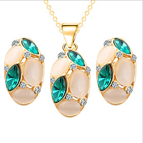 Crystal Jewelry Set - Cubic Zirconia, Opal, Rose Gold Plated Party, Fashion, Cute Include Red / Green / Blue For Party Special Occasion Anniversary / Earrings