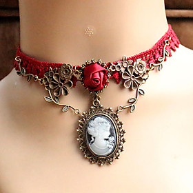 Women's Choker Necklace / Pendant Necklace / Gothic Jewelry - Lace Unique Design, Tattoo Style, European Red Necklace Jewelry For Wedding, Party, Daily