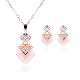 Women's Crystal Jewelry Set - Cubic Zirconia, Rhinestone, Rose Gold Plated Party, Simple Style, Elegant Include Stud Earrings Pendant Necklace Gold For Party A
