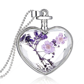 Crystal Pendant - Sterling Silver Heart Fashion Purple Necklace Jewelry For Wedding, Party, Daily