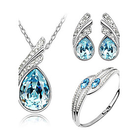 Women's Crystal Jewelry Set - Crystal Angel Wings Include Yellow / Green / Blue For Wedding Party Birthday / Earrings / Necklace / Bracelets  Bangles