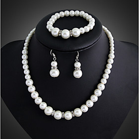 Women's Pearl Jewelry Set - Pearl, Silver Plated Party, Link / Chain, Elegant Include Drop Earrings Pearl Necklace White For Wedding Party Special Occasion
