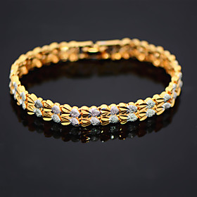 Fashion 18K Gold Gold Platinum Plated Double Heart Chain Bracelet Chain Bangle Trendy Jewelry  for Womans B40193 Christmas Gifts 4804385