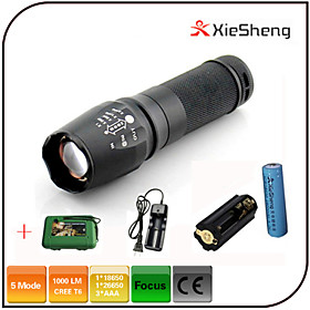 Lights LED Flashlights/Torch LED 1000 lumens Lumens 5 Mode Cree XM-L T6 18650Adjustable Focus / Waterproof / Rechargeable / Impact 4813559