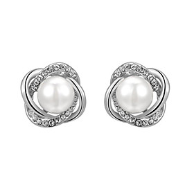 Women's Crystal Stud Earrings - Pearl, Imitation Pearl, Cubic Zirconia Flower Fashion Silver / Rose Gold For Daily