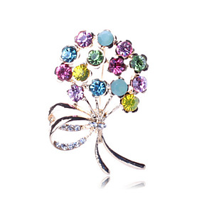 Women's Brooches Imitation Diamond Flower Ladies Luxury Party Fashion Brooch Jewelry Rainbow For Party Special Occasion Birthday Gift Daily