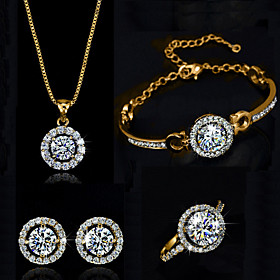 Women's Synthetic Diamond Halo Jewelry Set Crystal, Cubic Zirconia Ladies Include Necklace Earrings Bracelet Ring Silver / Golden For Wedding Party Birthday En