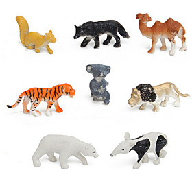 8pcs Animal Action Figures Set Modeling Toys Tiger / lion / camel / polar bear / dogs / Koala / Kangaroo / Anteater 4867851