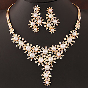 Women's Pearl Jewelry Set - Pearl, Imitation Pearl, Rhinestone Flower European, Fashion Include Silver / Golden For Wedding Party Birthday / Imitation Diamond
