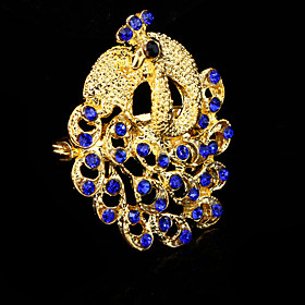 Women's Sapphire Brooches Crystal Cubic Zirconia Peacock Ladies Party Work Casual Fashion Brooch Jewelry Blue For Wedding Party Special Occasion Anniversary Bi