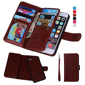 DE JI Case For Apple iPhone 8 / iPhone 8 Plus / iPhone 7 Wallet / Card Holder / with Windows Full Body Cases Solid Colored Hard PU Leather for iPhone 8 Plus /
