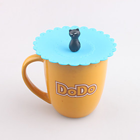 Cartoon Cat Shaped Silicone Mug Lid Cover Watertight Drink Cup Cap (Random Color) 4815343