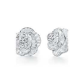 Women's Cubic Zirconia Stud Earrings Sterling Silver Zircon Silver Earrings Flower Jewelry White For Wedding Party Daily Casual Sports