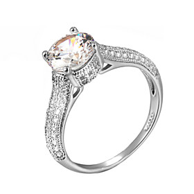 Women's Crystal Simulated Statement Ring Imitation Diamond Alloy Ladies Classic Fashion Ring Jewelry Silver / Golden For Wedding Party One Size