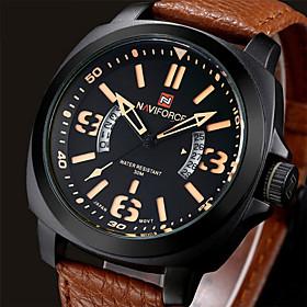 Men NAVIFORCE watch Quartz Waterproof Sports Watch Calendar Genuine Leather Wristwatch Wrist Watch Cool Watch Unique Watch 4830424