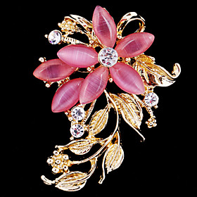 Women's Brooches Crystal Cubic Zirconia Opal Flower Ladies Party Work Casual Fashion Brooch Jewelry Pink For Wedding Party Special Occasion Anniversary Birthda