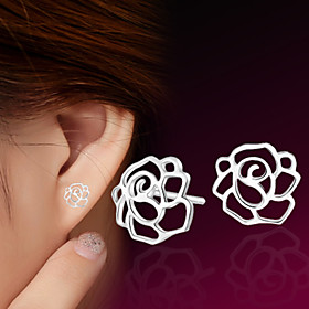 Women's Hollow Out Stud Earrings Sterling Silver Silver Earrings Flower Ladies Jewelry For Wedding Party Daily Casual Sports